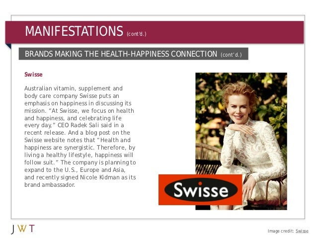 MANIFESTATIONS                        (contd.)BRANDS MAKING THE HEALTH-HAPPINESS CONNECTION     (cont'd.)SwisseAustralian ...