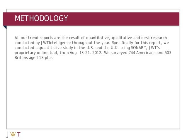 METHODOLOGYSONAR™All our trend reports are the result of quantitative, qualitative and desk researchconducted by JWTIntell...