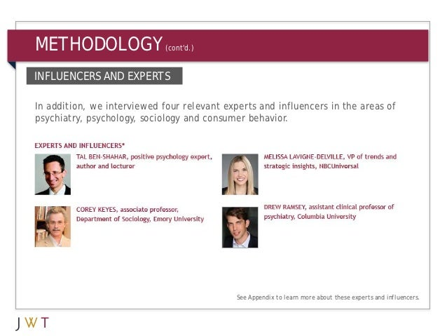 METHODOLOGY                  (contd.)INFLUENCERS AND EXPERTSIn addition, we interviewed four relevant experts and influenc...