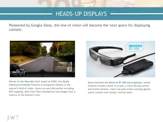 Pioneered by Google Glass, the line of vision will become the next space for displaying content. Winner of the Wearable Te...
