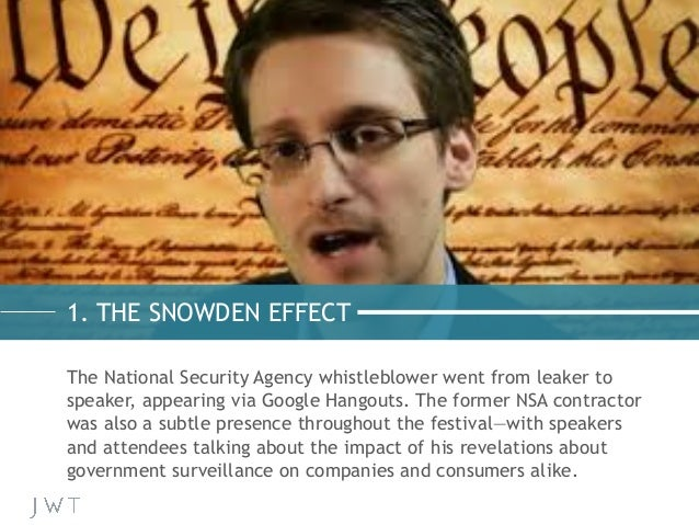 The National Security Agency whistleblower went from leaker to speaker, appearing via Google Hangouts. The former NSA cont...