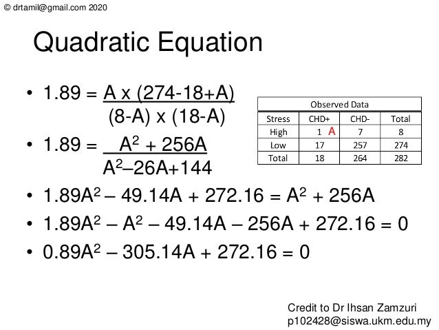 © drtamil@gmail.com 2020 Quadratic Equation • 1.89 = A x (274-18+A) (8-A) x (18-A) • 1.89 = A2 + 256A A2–26A+144 • 1.89A2 ...
