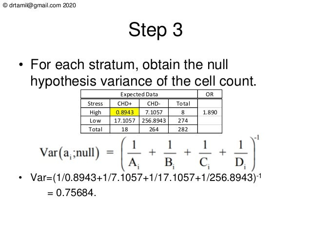 © drtamil@gmail.com 2020 Step 3 • For each stratum, obtain the null hypothesis variance of the cell count. • Var=(1/0.8943...