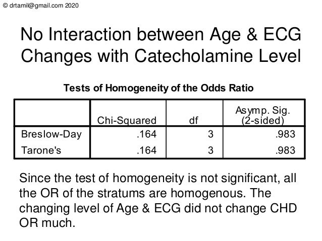 © drtamil@gmail.com 2020 No Interaction between Age & ECG Changes with Catecholamine Level Since the test of homogeneity i...