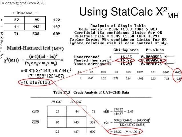 © drtamil@gmail.com 2020 Using StatCalc X2 MH =608*((27*443)-(95*44))2 (71*538*122*487) =16.21978128