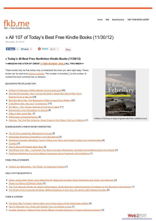 Home      FAQ     About/Contact      *GET YOUR BOOK LISTED*» All 107 of Today's Best Free Kindle Books (11/30/12)November ...