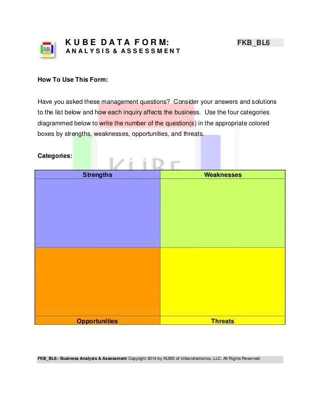 FKB_BL6– Business Analysis & Assessment Copyright 2014 by KUBE of Urbanetectonics, LLC. All Rights Reserved.  K U B E D A ...
