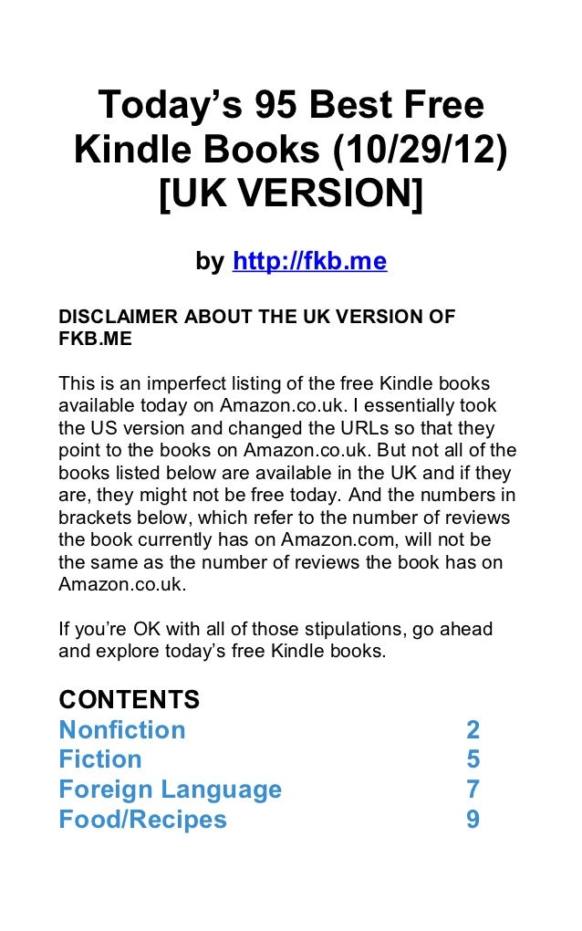 Today's 95 Best Free Kindle Books (10/29/12)     [UK VERSION]                by http://fkb.meDISCLAIMER ABOUT THE UK VERSI...
