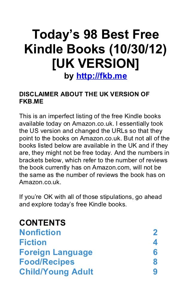 Today's 98 Best Free Kindle Books (10/30/12)     [UK VERSION]                by http://fkb.meDISCLAIMER ABOUT THE UK VERSI...