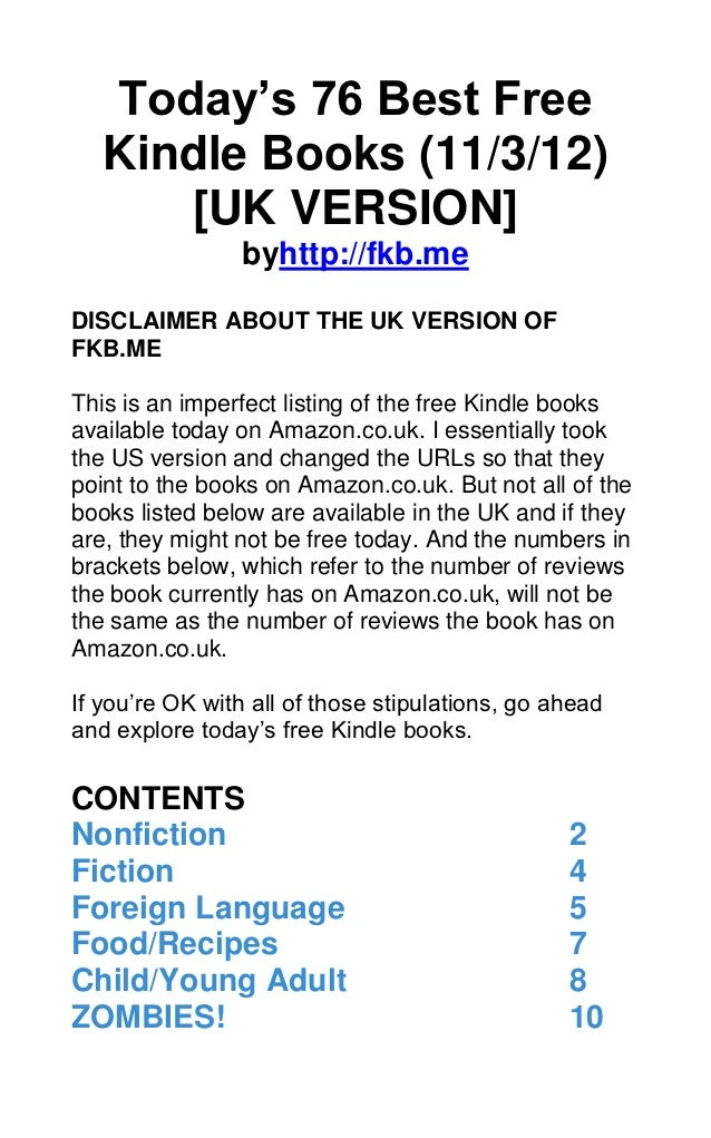 Today's 76 Best Free   Kindle Books (11/3/12)      [UK VERSION]                 byhttp://fkb.meDISCLAIMER ABOUT THE UK VER...
