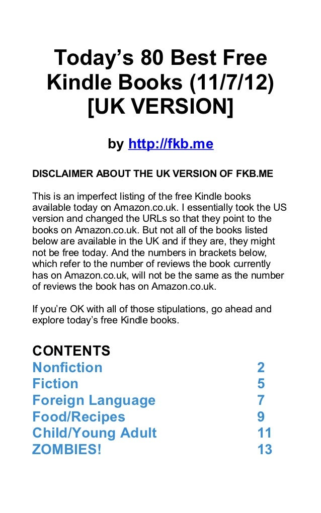 Today's 80 Best Free   Kindle Books (11/7/12)      [UK VERSION]                 by http://fkb.meDISCLAIMER ABOUT THE UK VE...
