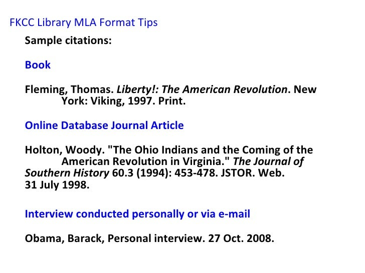 fkcc library mla format tips