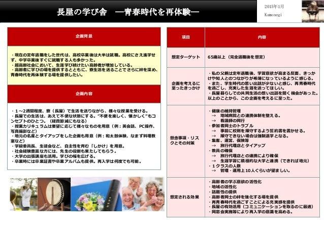 長屋の学び舎 ―青春時代を再体験― 2015年1月 Kamonegi 企画背景 ・現在の定年退職をした世代は、高校卒業後は大半は就職。高校にさえ進学せ ず、中学卒業後すぐに就職する人も多かった。 ・超高齢社会において、生涯学び続けたい高齢者が増...