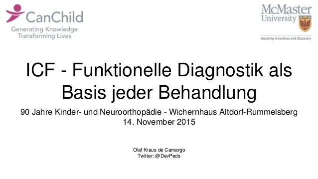 ICF - Funktionelle Diagnostik als Basis jeder Behandlung Olaf Kraus de Camargo Twitter: @DevPeds 90 Jahre Kinder- und Neur...