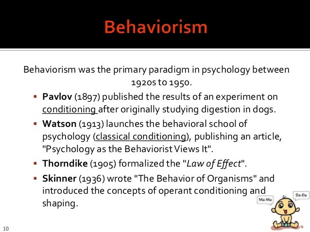 theories of watson pavlov and skinner psychology essay Classical and operant conditioning are two of several theories on learning which take the behaviourist approach classical conditioning is an association of one event with another that results in a pattern of behaviour.