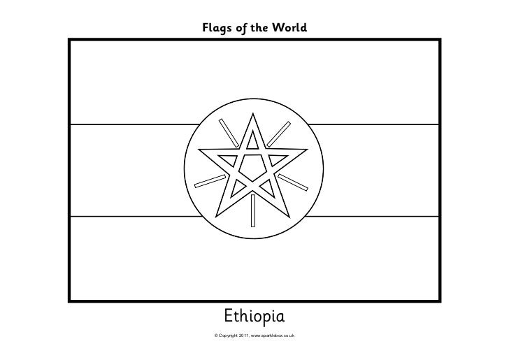 Flags coloring for Ethiopian coloring pages