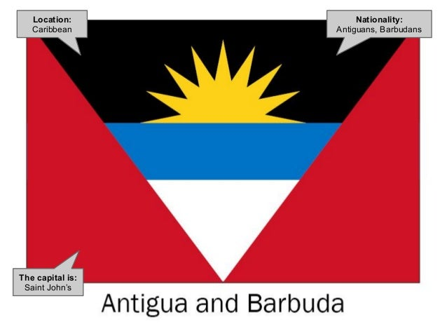 Nationality: Antiguans, Barbudans The capital is: Saint John's Location: Caribbean