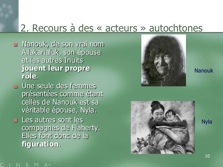 2. Recours à des « acteurs » autochtones   Nanouk, de son vrai nom    Allakarialuk, son épouse    et les autres Inuits   ...