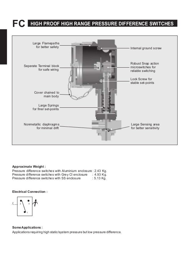 FC HIGH PROOF HIGH RANGE PRESSURE DIFFERENCE SWITCHES Large Flamepaths for better safety Seperate Terminal block for safe ...