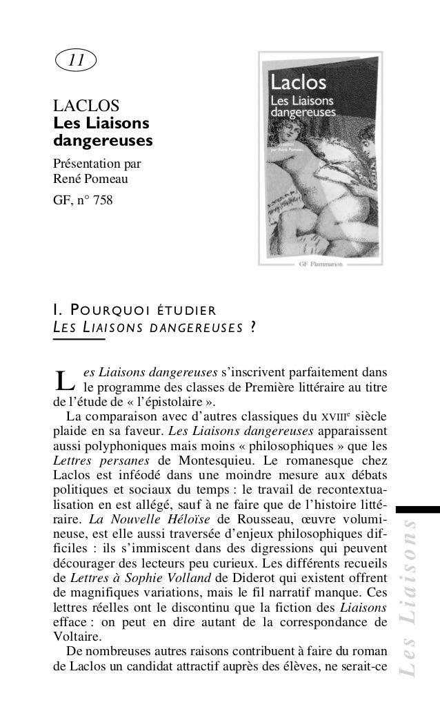 LesLiaisons LACLOS Les Liaisons dangereuses Présentation par René Pomeau GF, n° 758 I. POURQUOI ÉTUDIER LES LIAISONS DANGE...