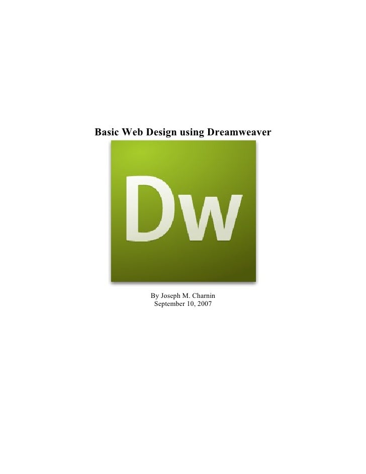 Basic Web Design In Dreamweaver