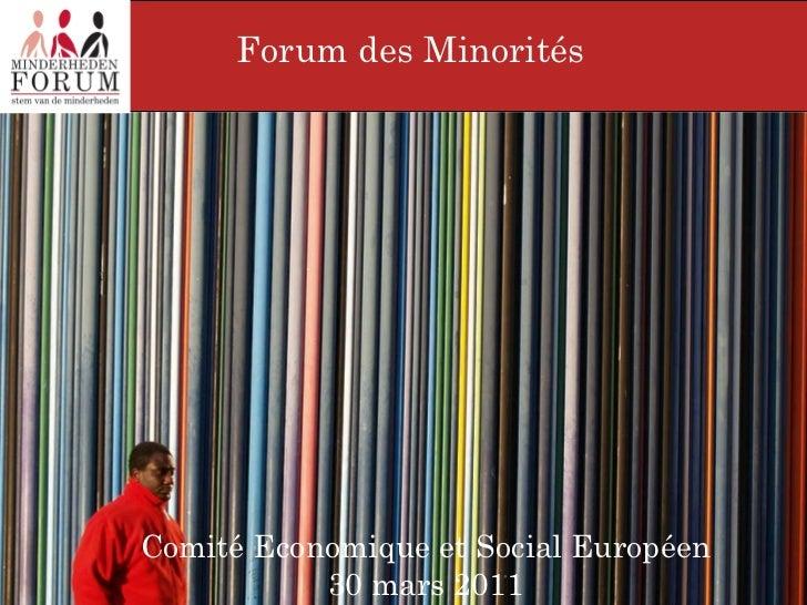 Forum des Minorités  Comité Economique et Social Européen  30 mars 2011