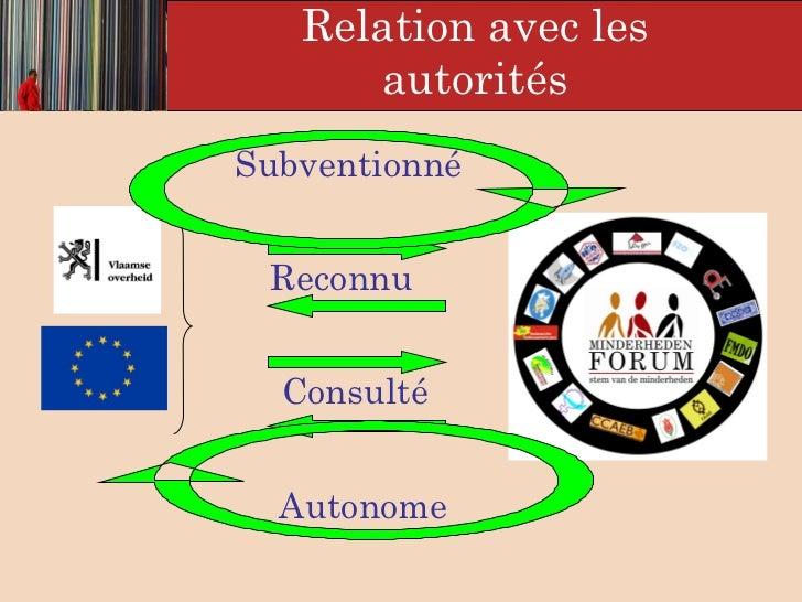 <ul><li>  </li></ul>Relation avec les  autorités Subventionné   Consulté  Autonome   Reconnu
