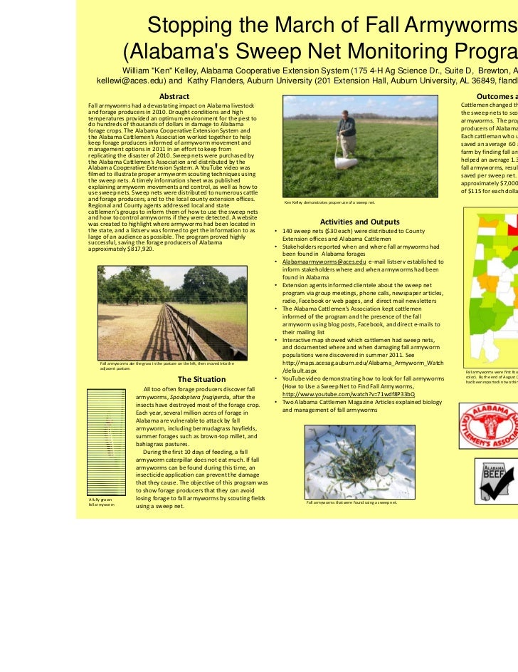 """Stopping the March of Fall Armyworms                  (Alabamas Sweep Net Monitoring Program)           William """"Ken"""" Kell..."""