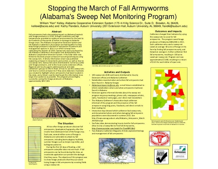 "Stopping the March of Fall Armyworms                  (Alabamas Sweep Net Monitoring Program)           William ""Ken"" Kell..."