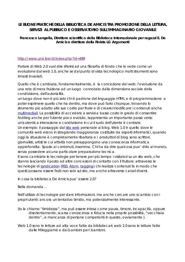 LE BUONE PRATICHE DELLA BIBLIOTECA DE AMICIS TRA PROMOZIONE DELLA LETTURA, SERVIZI AL PUBBLICO E OSSERVATORIO SULL'IMMAGIN...