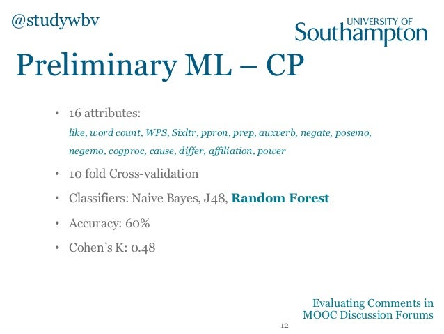 Preliminary ML – CP @studywbv 12 Evaluating Comments in MOOC Discussion Forums • 16 attributes: like, word count, WPS, Six...