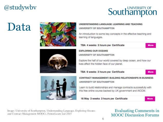 Data Image: University of Southampton, Understanding Language, Exploring Oceans and Contract Management MOOCs. FutureLearn...