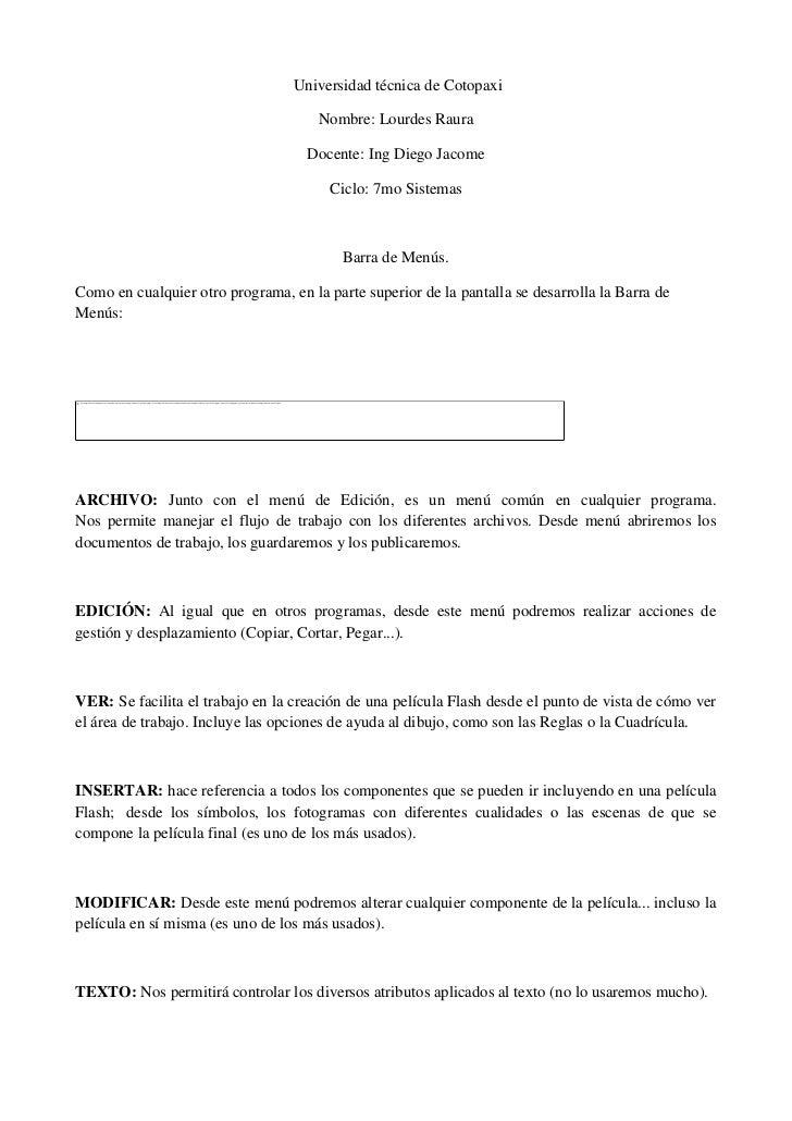 Universidad técnica de Cotopaxi                                      Nombre: Lourdes Raura                                ...