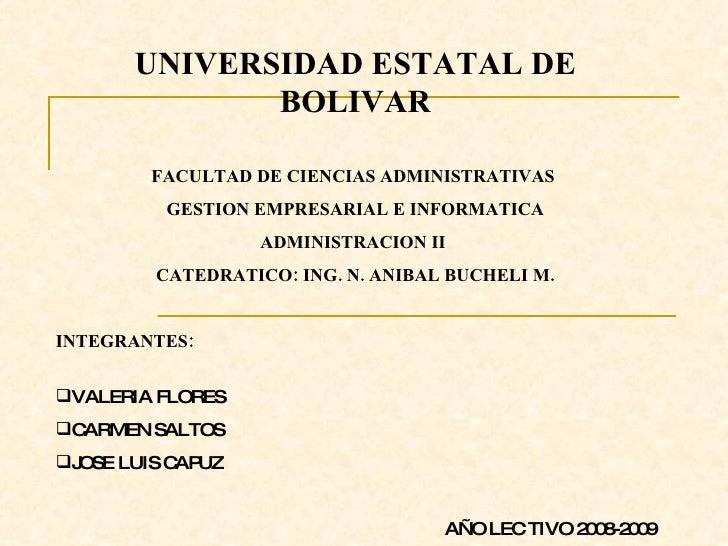 UNIVERSIDAD ESTATAL DE               BOLIVAR          FACULTAD DE CIENCIAS ADMINISTRATIVAS          GESTION EMPRESARIAL E ...