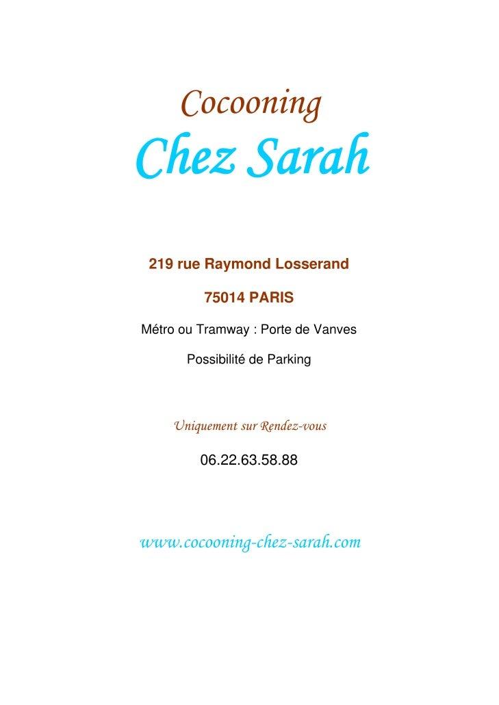Carte des Soins - Sarah Beauté Paris