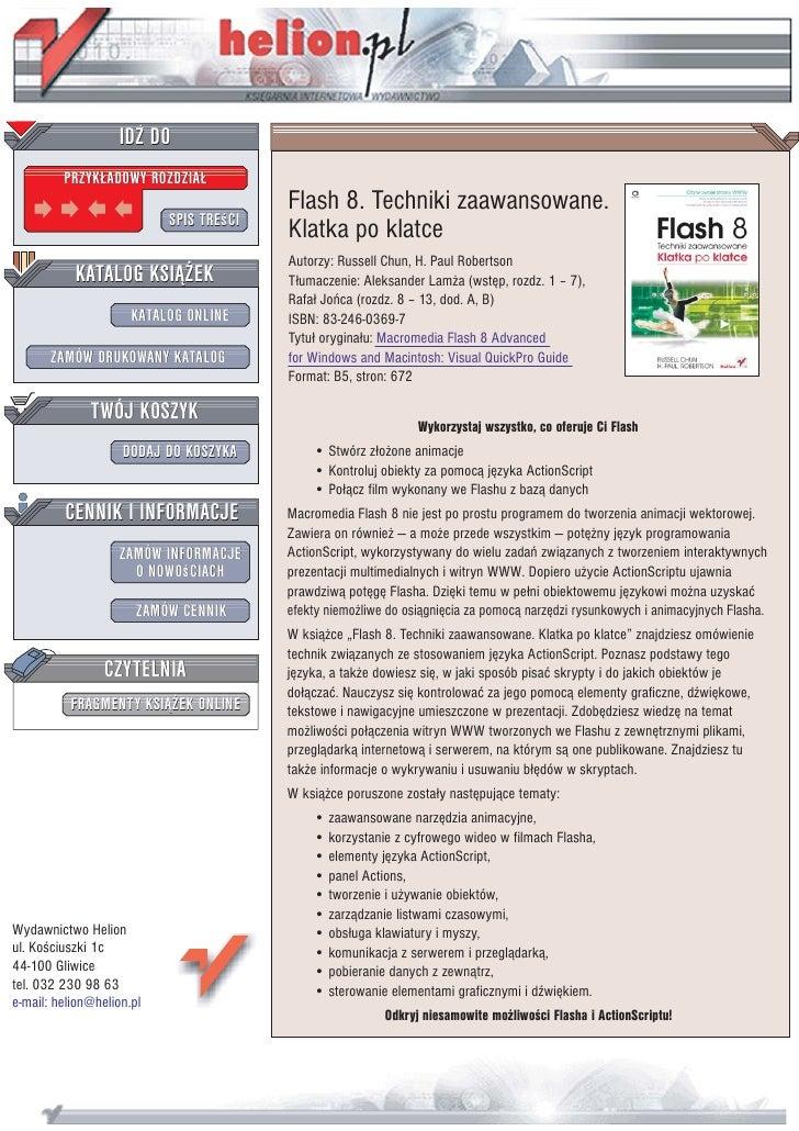 IDZ DO          PRZYK£ADOWY ROZDZIA£                                          Flash 8. Techniki zaawansowane.             ...