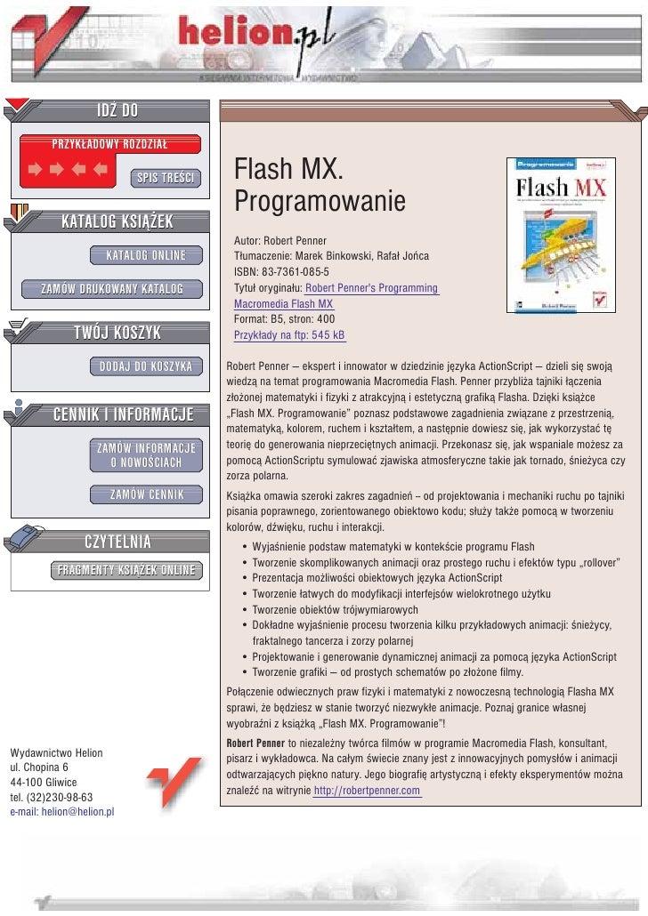 IDZ DO          PRZYK£ADOWY ROZDZIA£                             SPIS TRE CI    Flash MX.                                 ...