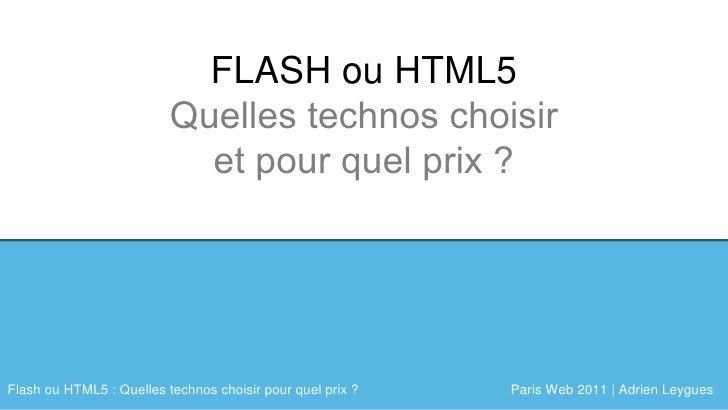 Agenda FLASH ou HTML5 Quelles technos choisir et pour quel prix ?
