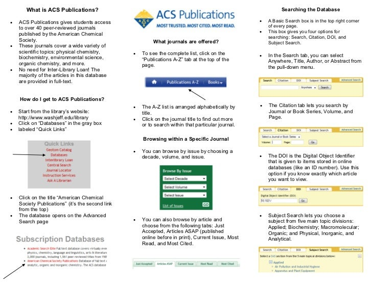 Help Guide For ACS Publications Database