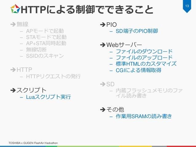 HTTPによる制御でできること 無線 – APモードで起動 – STAモードで起動 – AP+STA同時起動 – 無線切断 – SSIDのスキャン HTTP – HTTPリクエストの発行 スクリプト – Luaスクリプト実行 PIO –...
