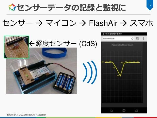 センサーデータの記録と監視に TOSHIBA x GUGEN FlashAir Hackathon 17 センサー  マイコン  FlashAir  スマホ 照度センサー (CdS)