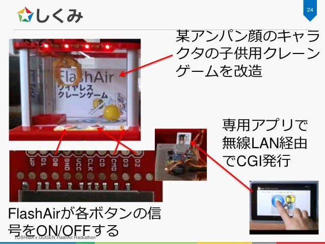 しくみ TOSHIBA x GUGEN FlashAir Hackathon 24 某アンパン顔のキャラ クタの子供用クレーン ゲームを改造 専用アプリで 無線LAN経由 でCGI発行 FlashAirが各ボタンの信 号をON/OFFする