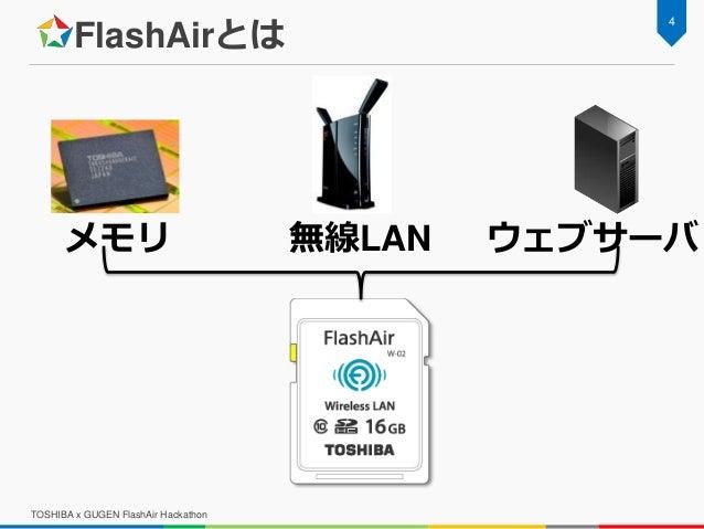FlashAirとは TOSHIBA x GUGEN FlashAir Hackathon 4 メモリ 無線LAN ウェブサーバ