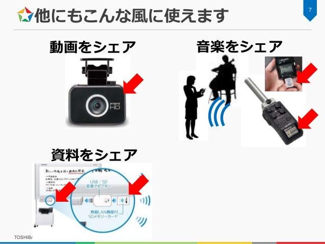他にもこんな風に使えます TOSHIBA x GUGEN FlashAir Hackathon 7 音楽をシェア 資料をシェア 動画をシェア