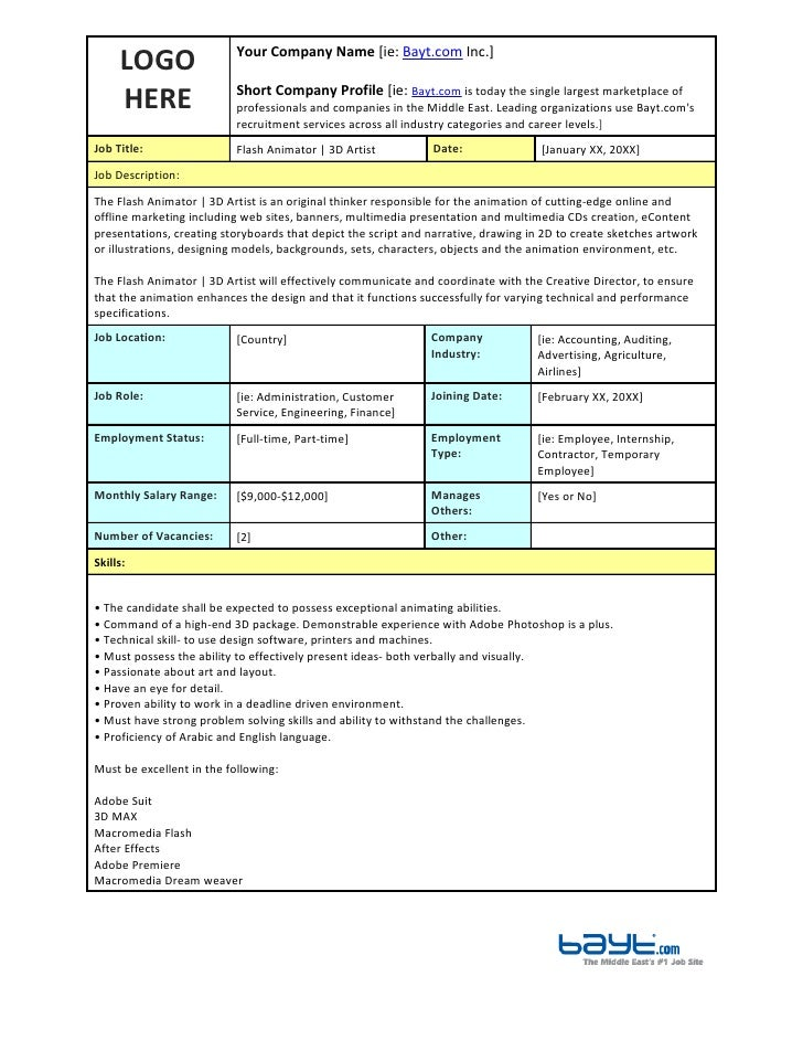 Template For A Job Description. 5 Free Job Description Templates ...