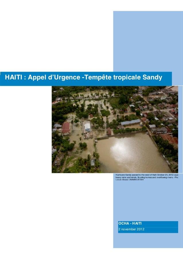                                                                  HAITI : Appel d'Urgence -Tempête tropicale Sandy    ...