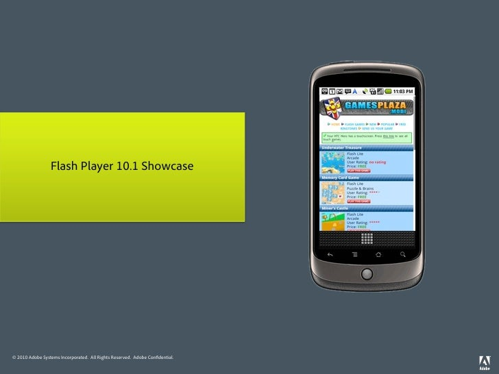 Flash Player 10.1 Showcase     © 2010 Adobe Systems Incorporated. All Rights Reserved. Adobe Con dential.