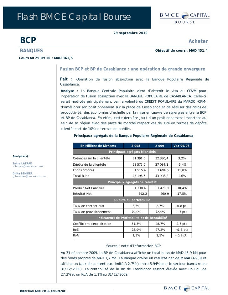 Flash BMCE Capital Bourse                                                                   29 septembre 2010       BCP   ...