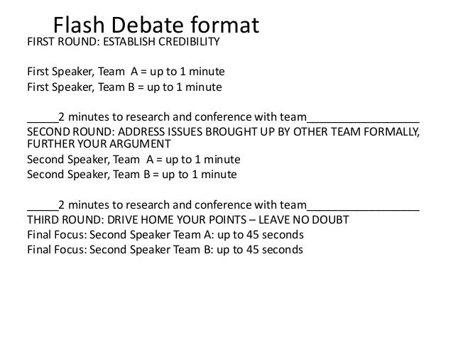 Flash debate format for First speaker debate template