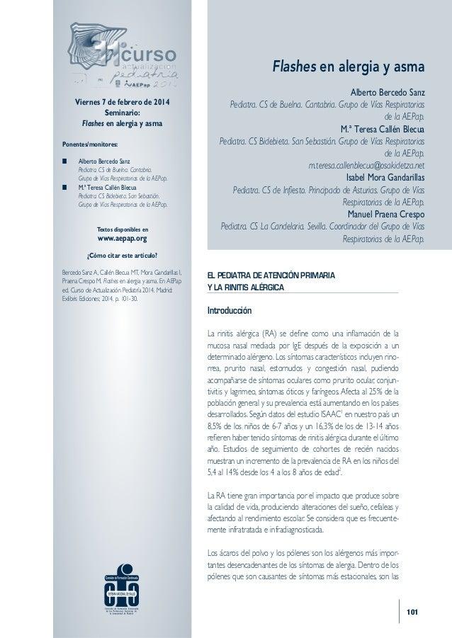 Flashes en alergia y asma Viernes 7 de febrero de 2014 Seminario: Flashes en alergia y asma Ponentes/monitores: n Alberto...